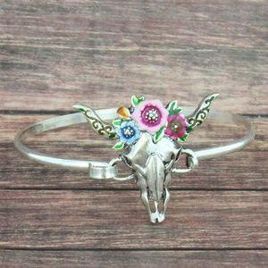 So Western boho Floral Wreath Steer head Bracelet
